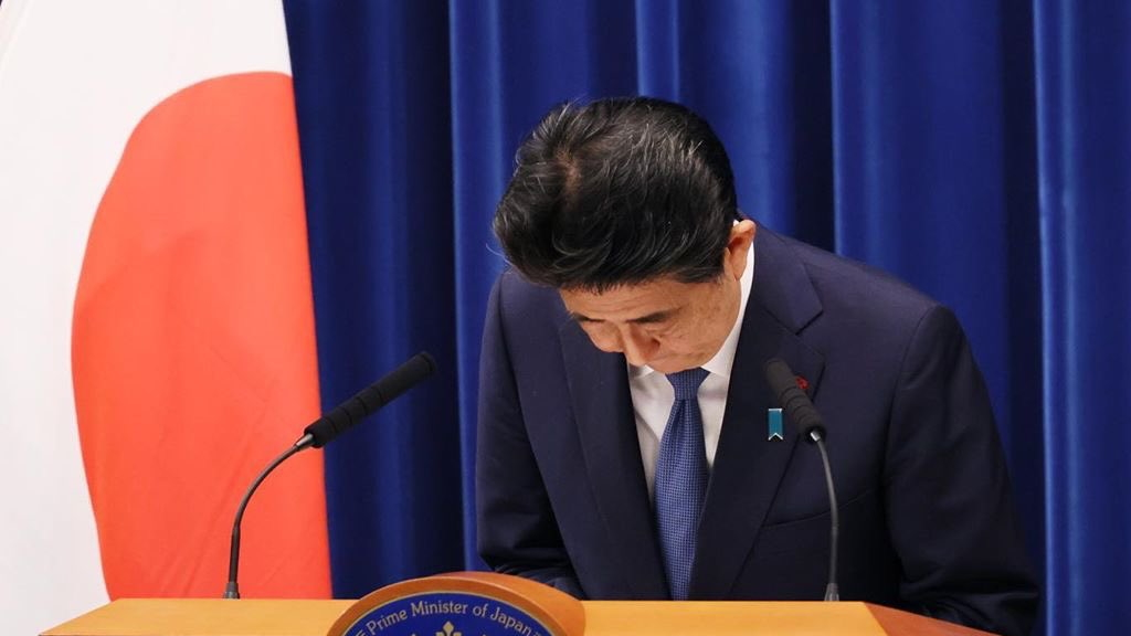 Shinzo Abe at a press conference.